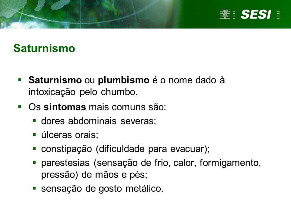 Saturnismo Saturnismo ou plumbismo é o nome dado à intoxicação pelo chumbo. Os sintomas mais comuns são: