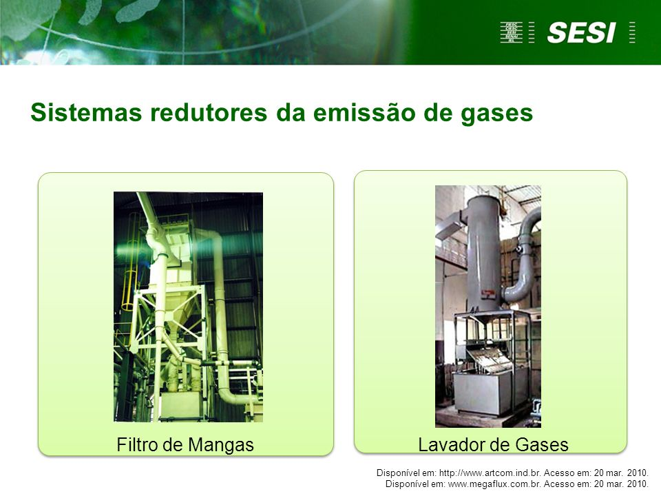 Sistemas redutores da emissão de gases