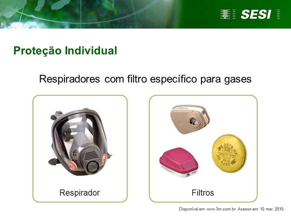 Respiradores com filtro específico para gases