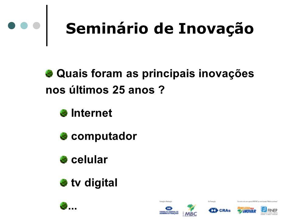 Seminário de Inovação Quais foram as principais inovações nos últimos 25 anos Internet. computador.