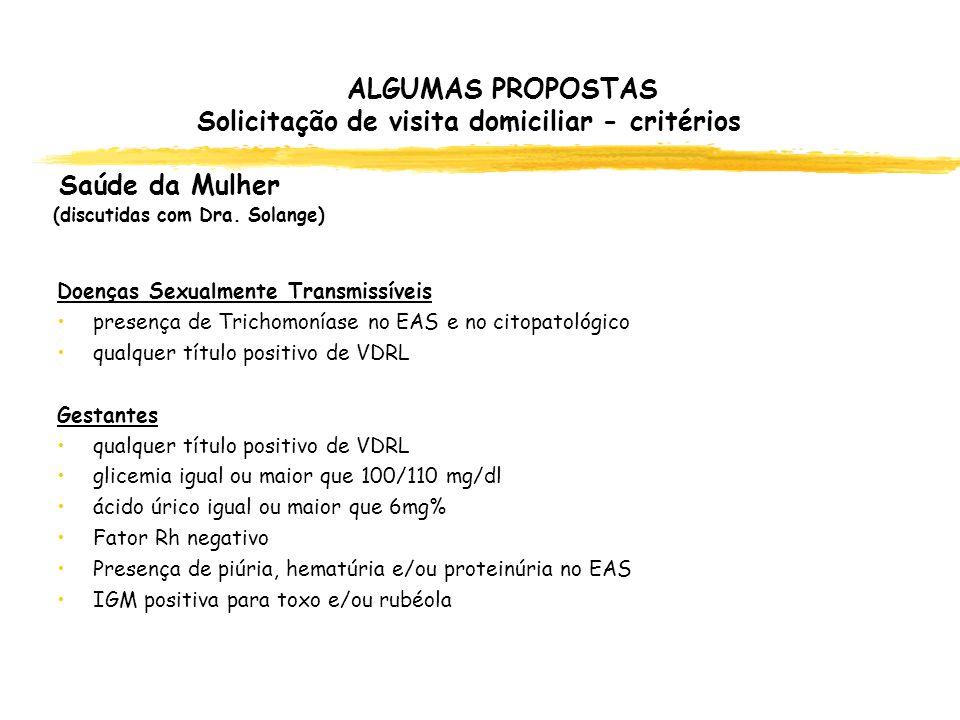 ALGUMAS PROPOSTAS Solicitação de visita domiciliar - critérios Saúde da Mulher (discutidas com Dra. Solange)