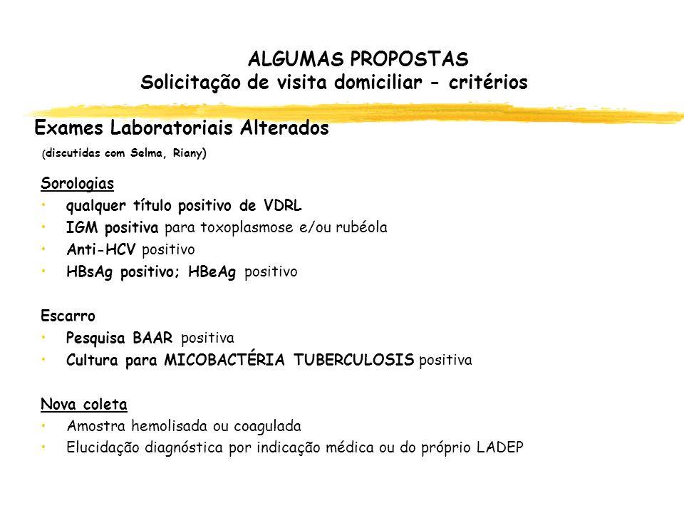 ALGUMAS PROPOSTAS Solicitação de visita domiciliar - critérios Exames Laboratoriais Alterados (discutidas com Selma, Riany)
