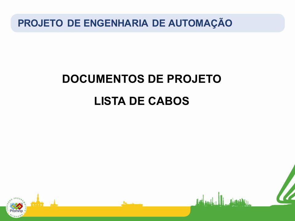 DOCUMENTOS DE PROJETO LISTA DE CABOS