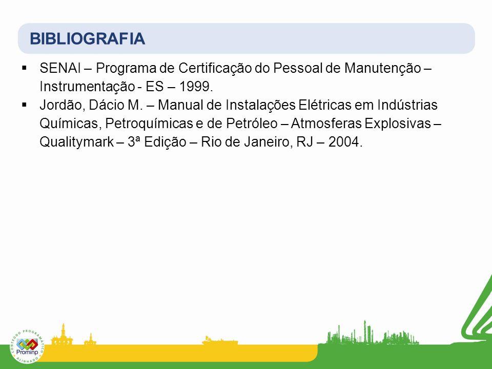 BIBLIOGRAFIA SENAI – Programa de Certificação do Pessoal de Manutenção – Instrumentação - ES – 1999.
