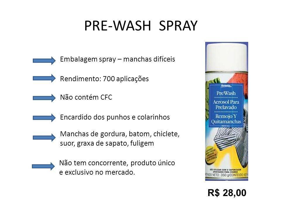 PRE-WASH SPRAY R$ 28,00 Embalagem spray – manchas difíceis