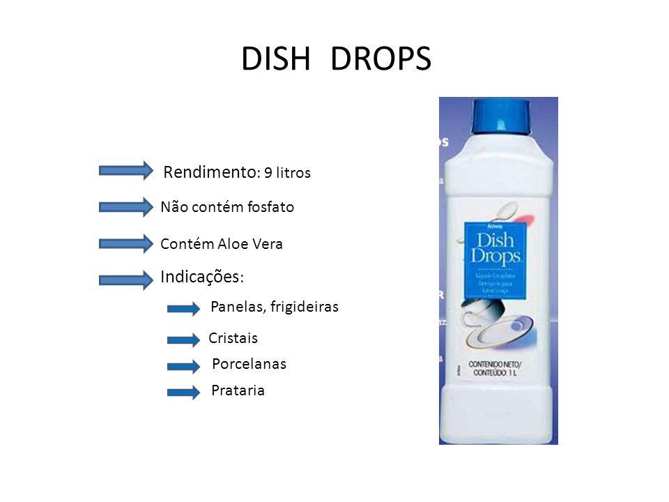 DISH DROPS Rendimento: 9 litros Indicações: Não contém fosfato