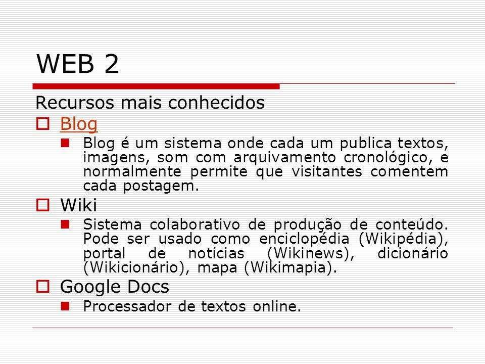 WEB 2 Recursos mais conhecidos Blog Wiki Google Docs