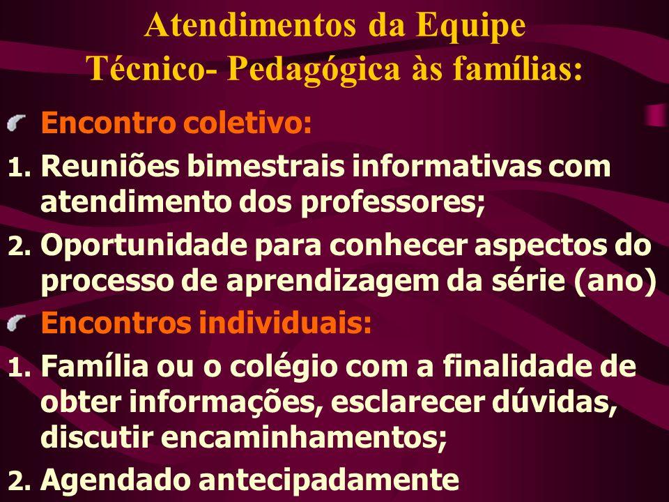 Atendimentos da Equipe Técnico- Pedagógica às famílias: