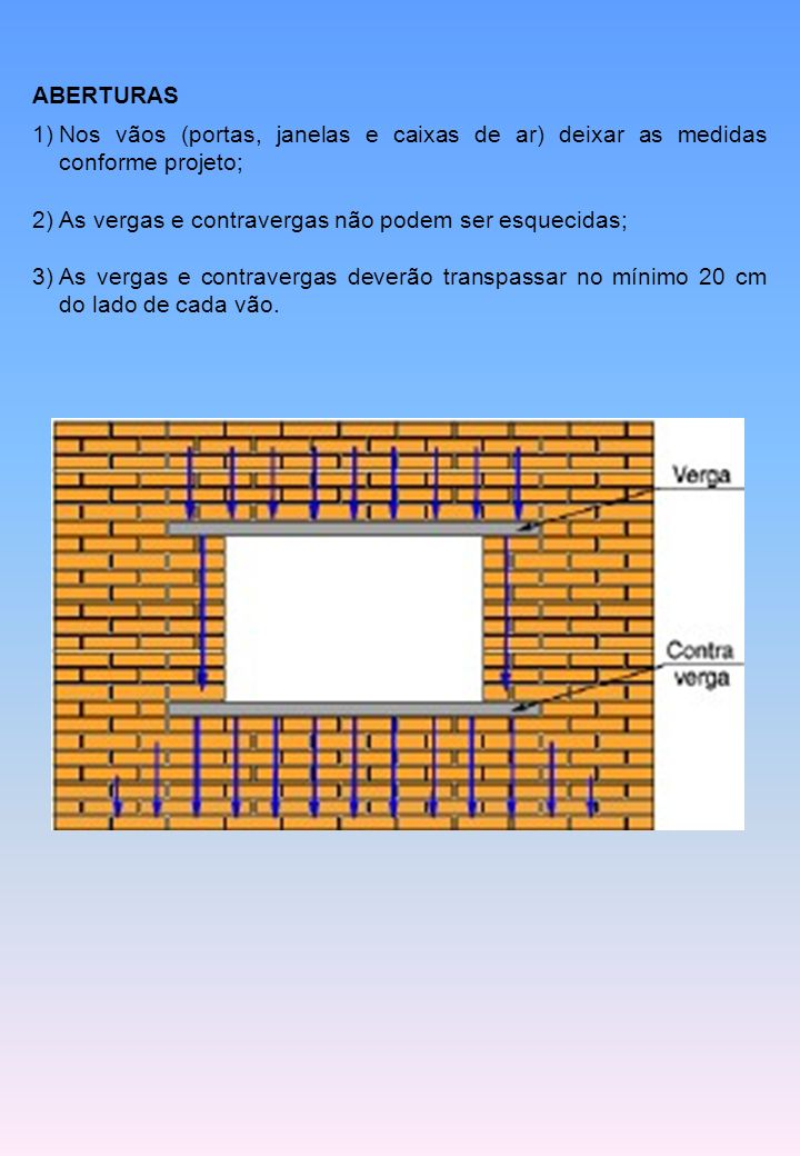 ABERTURAS Nos vãos (portas, janelas e caixas de ar) deixar as medidas conforme projeto; As vergas e contravergas não podem ser esquecidas;