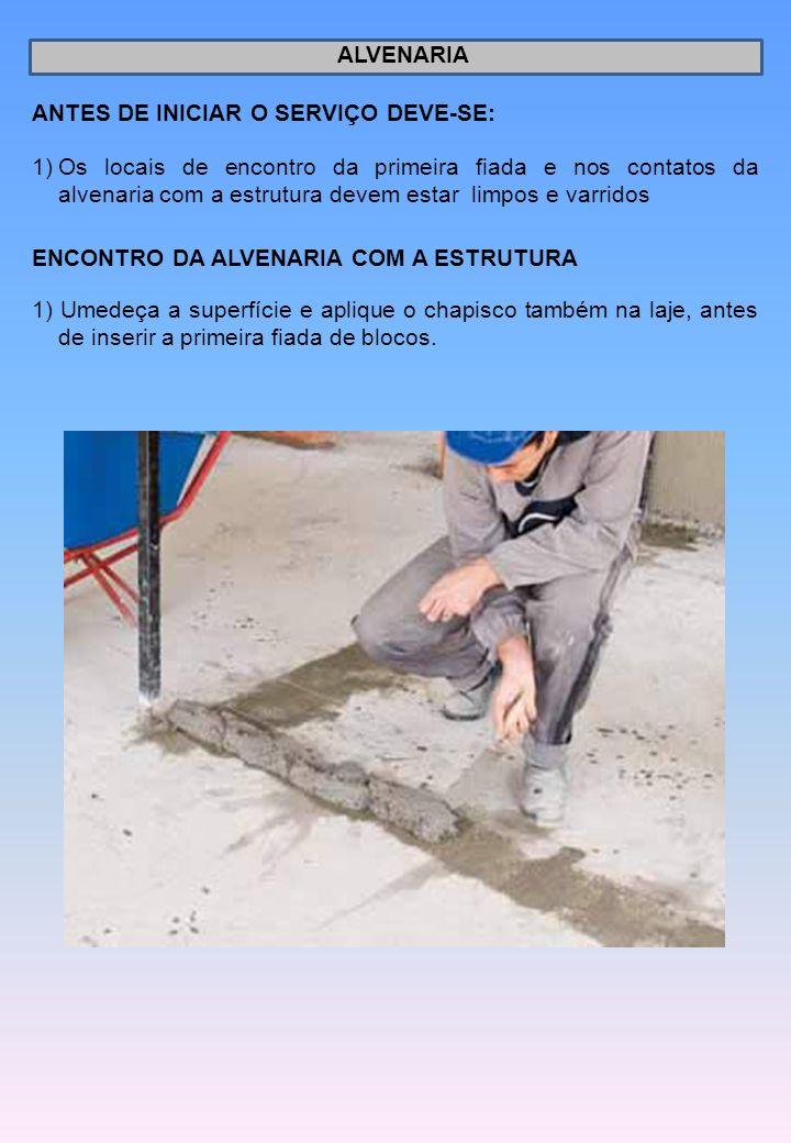 ALVENARIA ANTES DE INICIAR O SERVIÇO DEVE-SE: