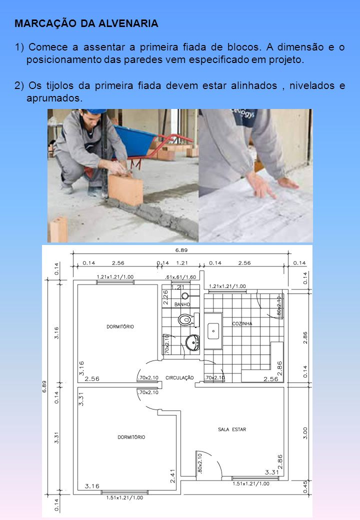 MARCAÇÃO DA ALVENARIA 1) Comece a assentar a primeira fiada de blocos. A dimensão e o posicionamento das paredes vem especificado em projeto.