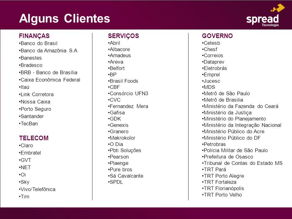 Alguns Clientes FINANÇAS TELECOM SERVIÇOS GOVERNO Banco do Brasil