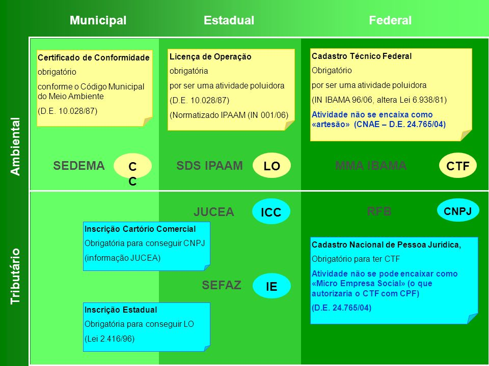 Municipal Estadual Federal Ambiental SEDEMA CC LO CTF SDS IPAAM