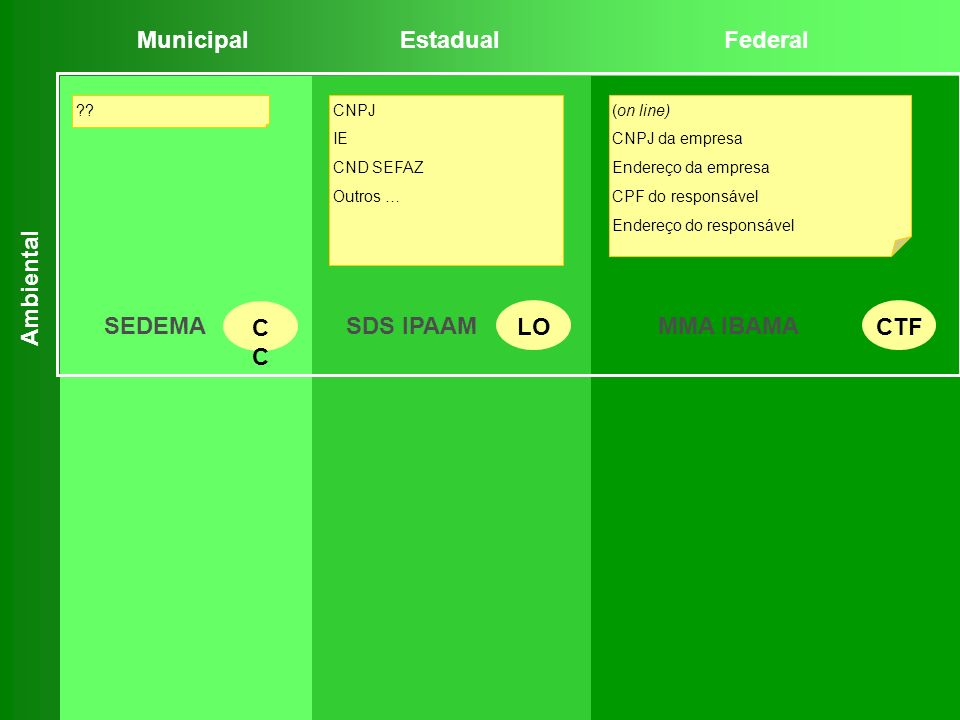 Municipal Estadual Federal SEDEMA CC LO CTF SDS IPAAM MMA IBAMA