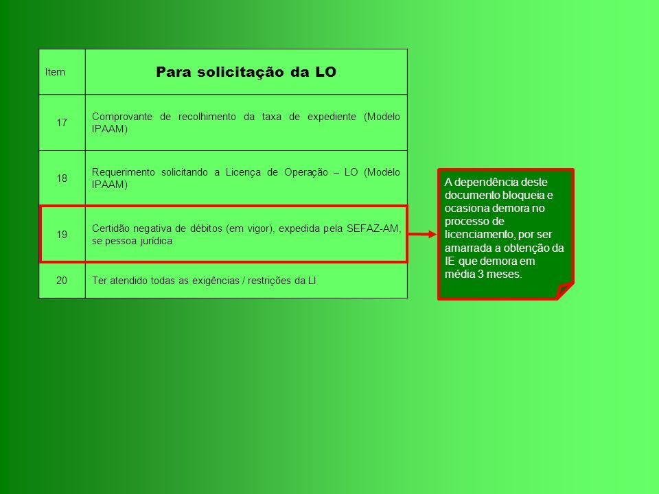 Item Para solicitação da LO. 17. Comprovante de recolhimento da taxa de expediente (Modelo IPAAM)