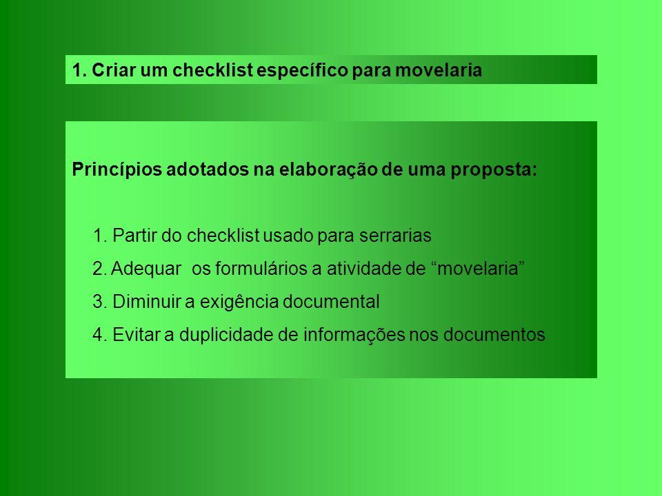 1. Criar um checklist específico para movelaria