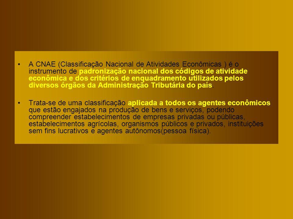 A CNAE (Classificação Nacional de Atividades Econômicas ) é o instrumento de padronização nacional dos códigos de atividade econômica e dos critérios de enquadramento utilizados pelos diversos órgãos da Administração Tributária do país.
