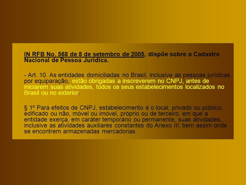 IN RFB No. 568 de 8 de setembro de 2005, dispõe sobre o Cadastro Nacional de Pessoa Jurídica.