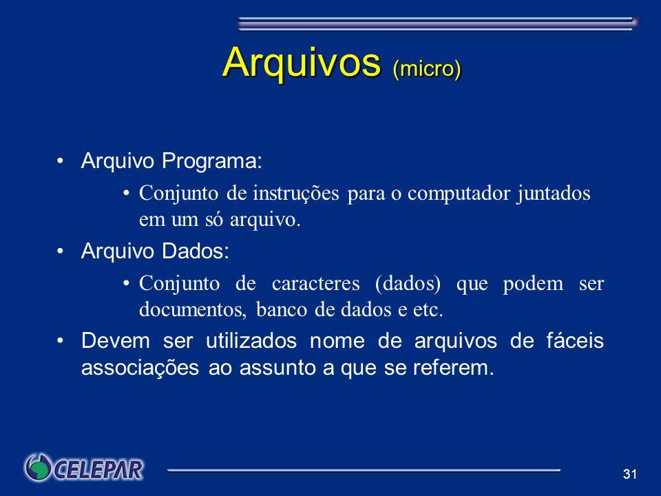 Arquivos (micro) Arquivo Programa: