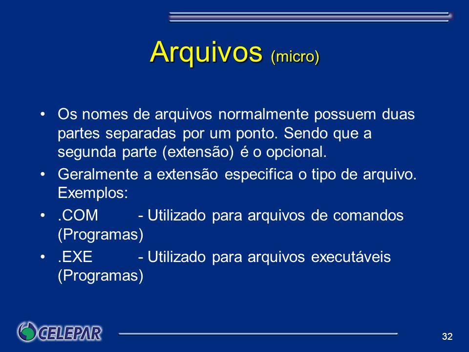 Arquivos (micro) Os nomes de arquivos normalmente possuem duas partes separadas por um ponto. Sendo que a segunda parte (extensão) é o opcional.
