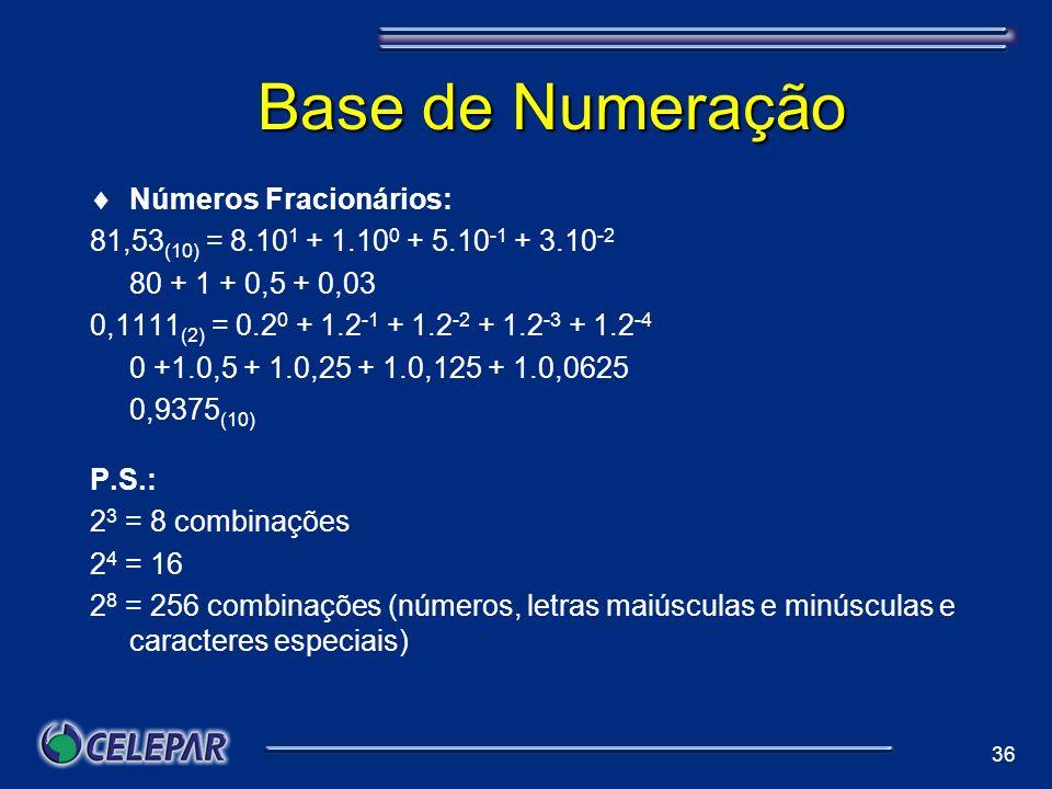 Base de Numeração Números Fracionários:
