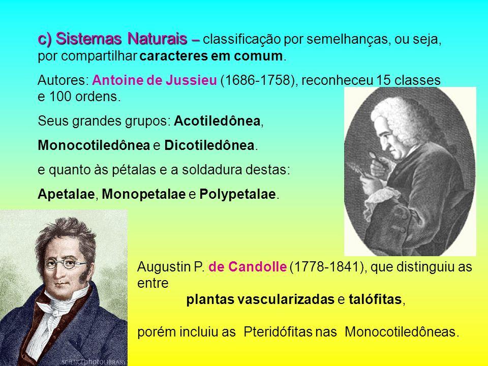 c) Sistemas Naturais – classificação por semelhanças, ou seja, por compartilhar caracteres em comum.