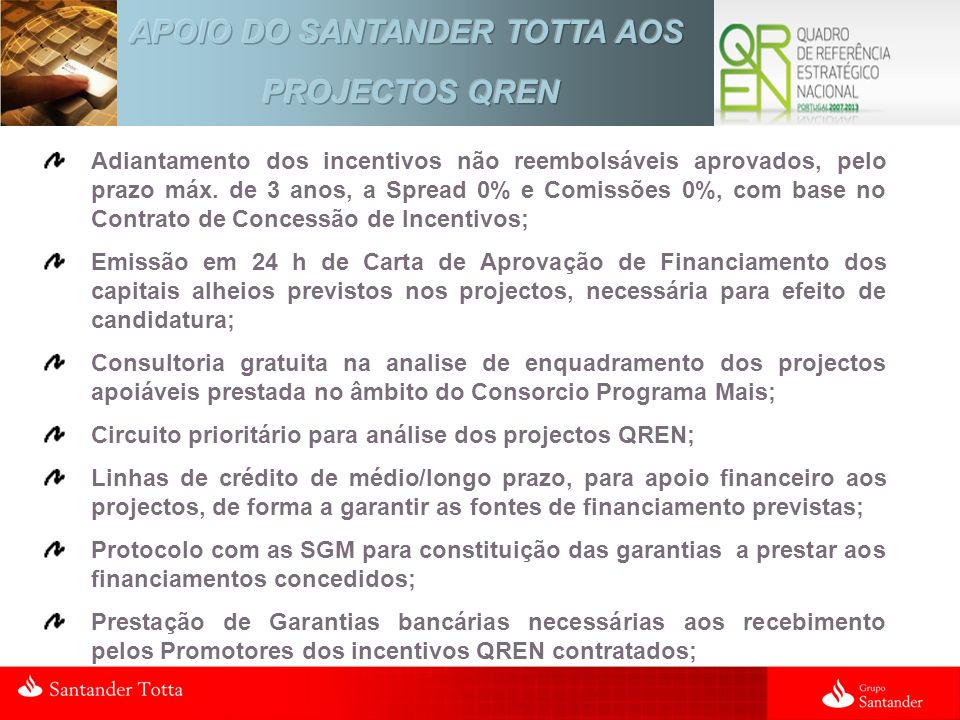 APOIO DO SANTANDER TOTTA AOS