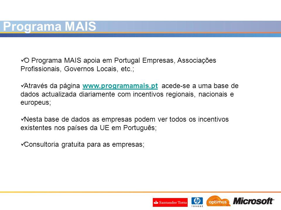 Programa MAIS O Programa MAIS apoia em Portugal Empresas, Associações Profissionais, Governos Locais, etc.;