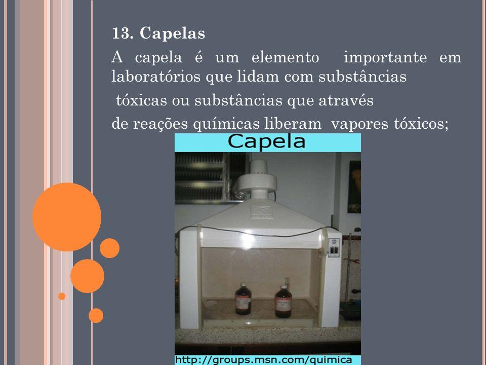 13. Capelas A capela é um elemento importante em laboratórios que lidam com substâncias. tóxicas ou substâncias que através.