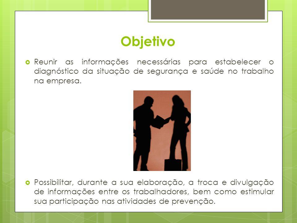 Objetivo Reunir as informações necessárias para estabelecer o diagnóstico da situação de segurança e saúde no trabalho na empresa.