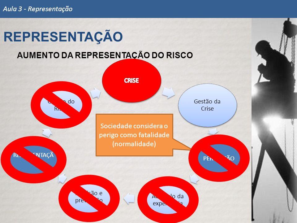 REPRESENTAÇÃO AUMENTO DA REPRESENTAÇÃO DO RISCO Aula 3 - Representação