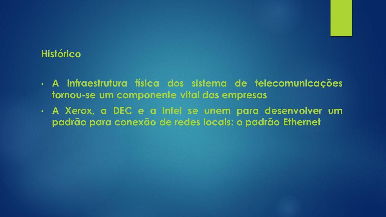 Histórico A infraestrutura física dos sistema de telecomunicações tornou-se um componente vital das empresas.