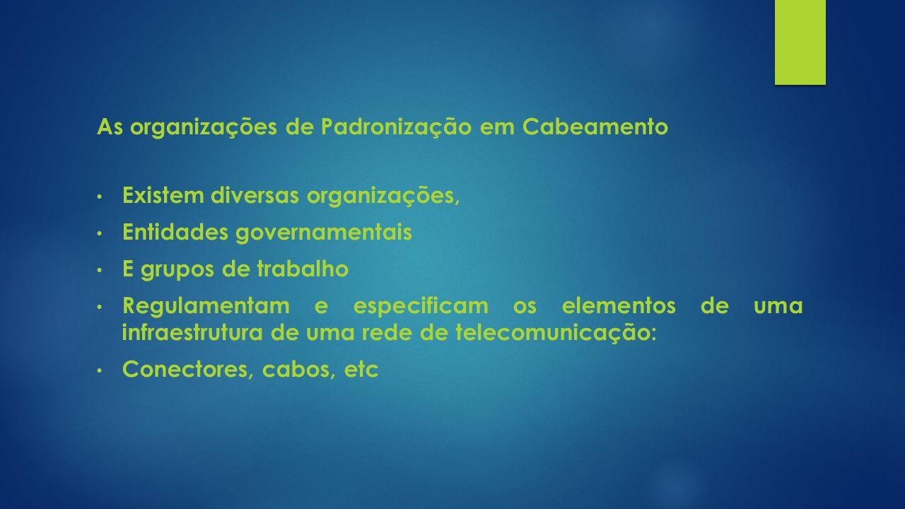 As organizações de Padronização em Cabeamento