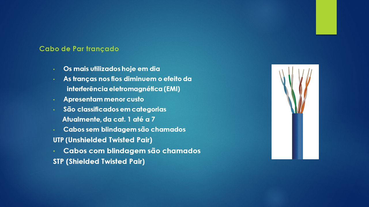 Cabos com blindagem são chamados STP (Shielded Twisted Pair)