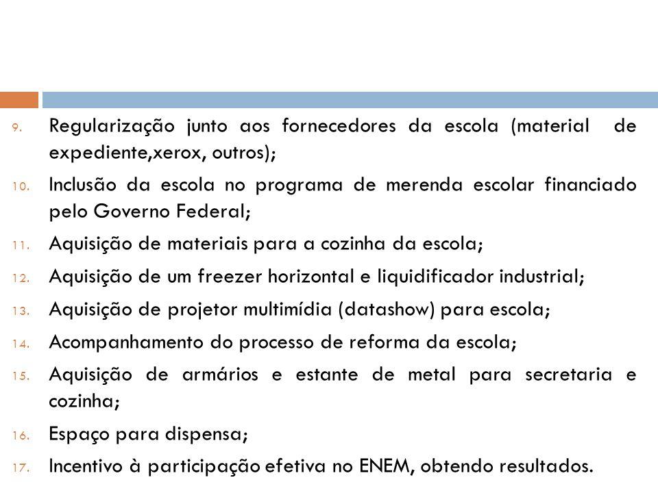 Regularização junto aos fornecedores da escola (material de expediente,xerox, outros);