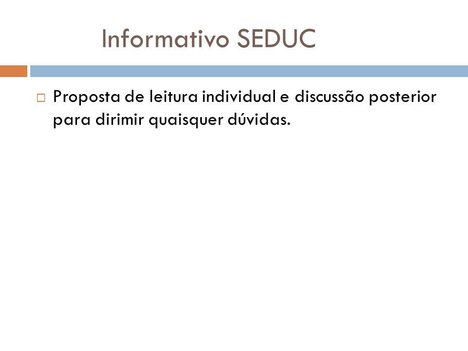Informativo SEDUC Proposta de leitura individual e discussão posterior para dirimir quaisquer dúvidas.