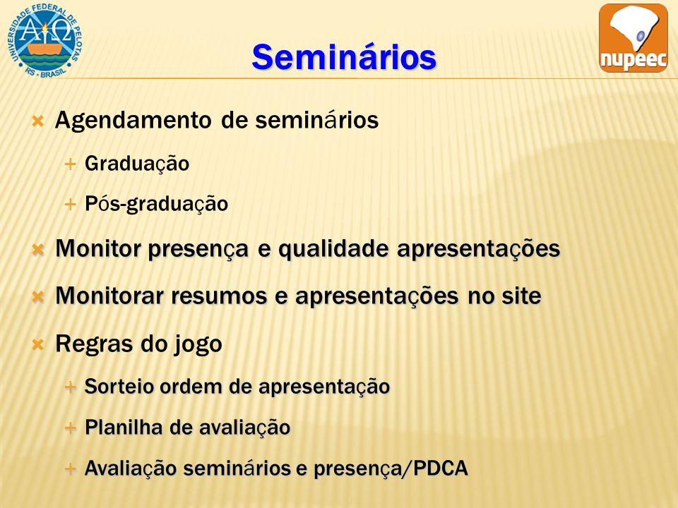 Seminários Agendamento de seminários