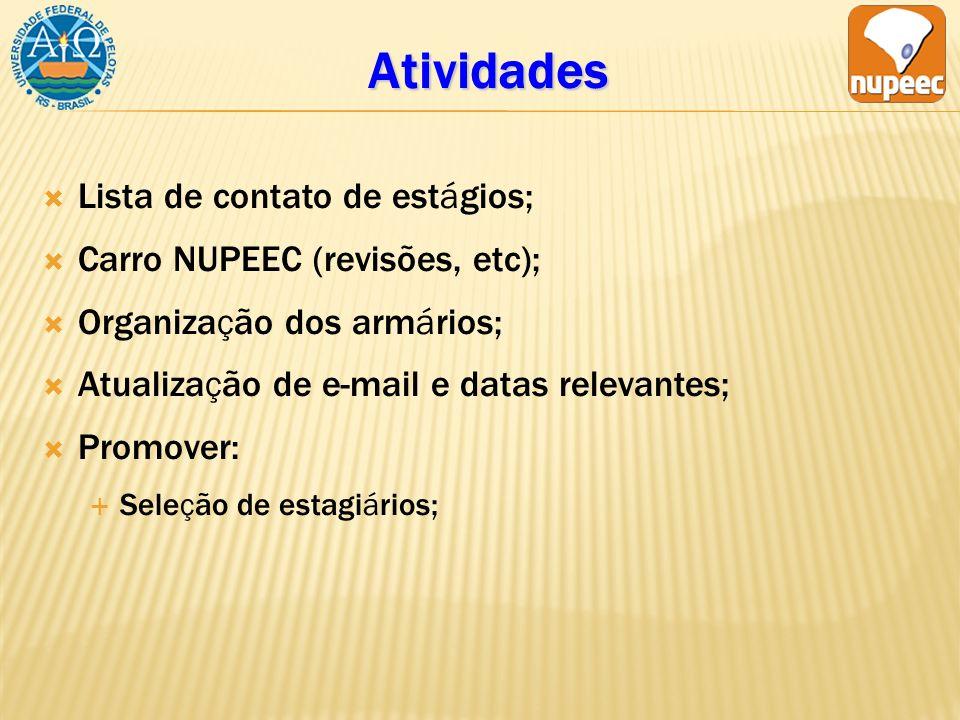 Atividades Lista de contato de estágios; Carro NUPEEC (revisões, etc);
