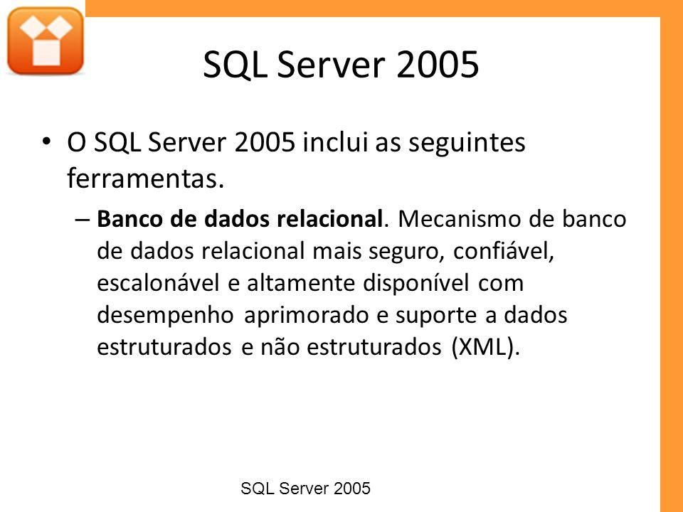 SQL Server 2005 O SQL Server 2005 inclui as seguintes ferramentas.