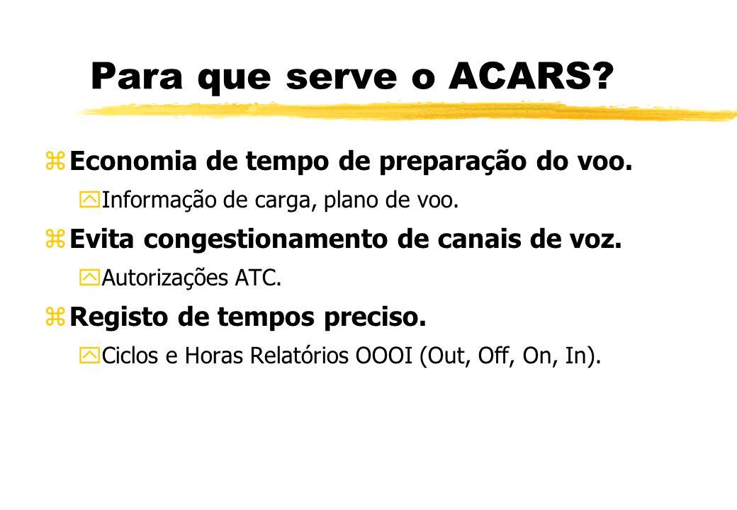 Para que serve o ACARS Economia de tempo de preparação do voo.