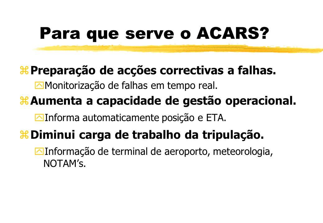 Para que serve o ACARS Preparação de acções correctivas a falhas.