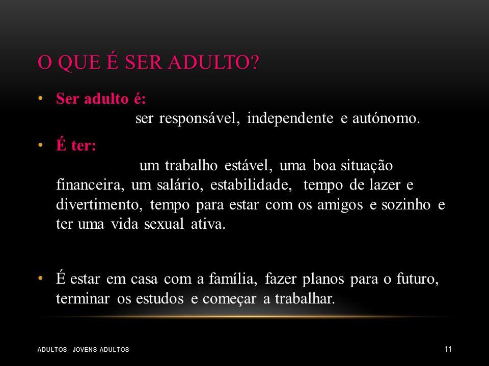 O que é ser adulto Ser adulto é: ser responsável, independente e autónomo.
