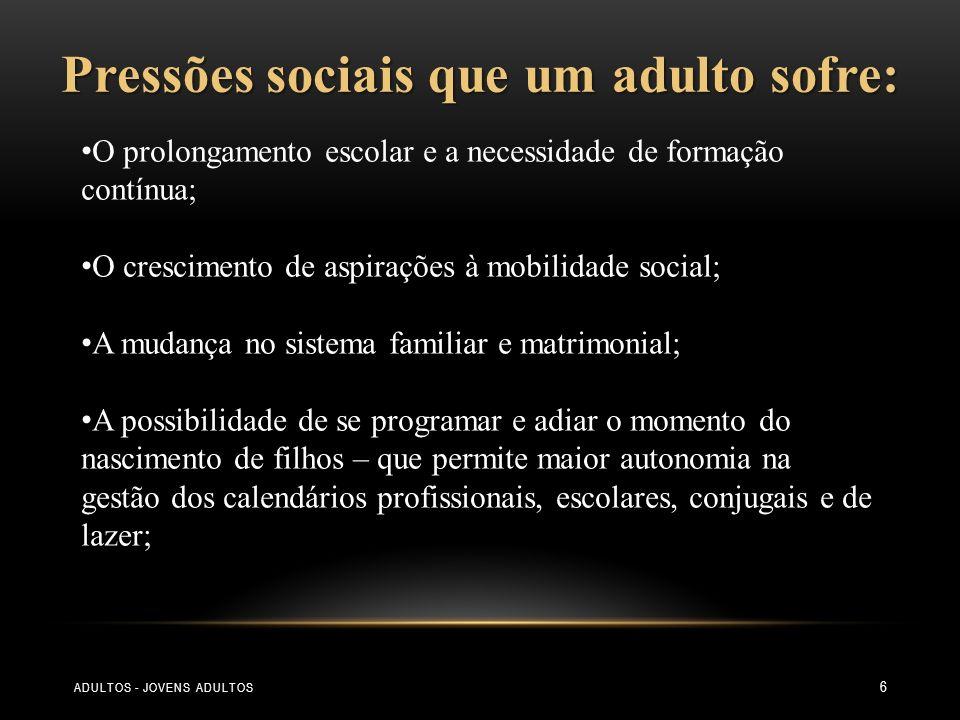Pressões sociais que um adulto sofre: