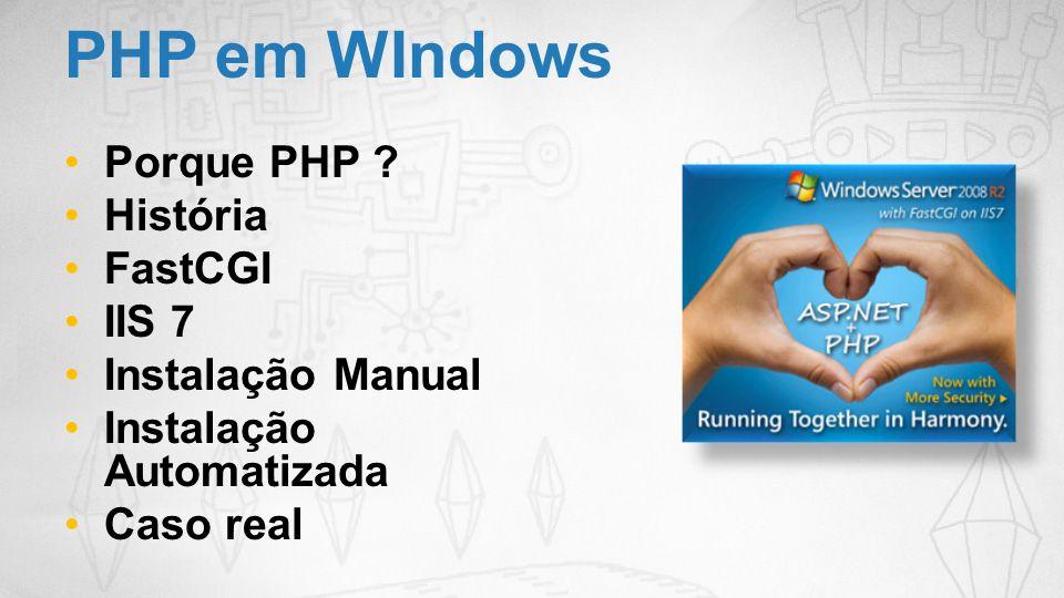 PHP em WIndows Porque PHP História FastCGI IIS 7 Instalação Manual