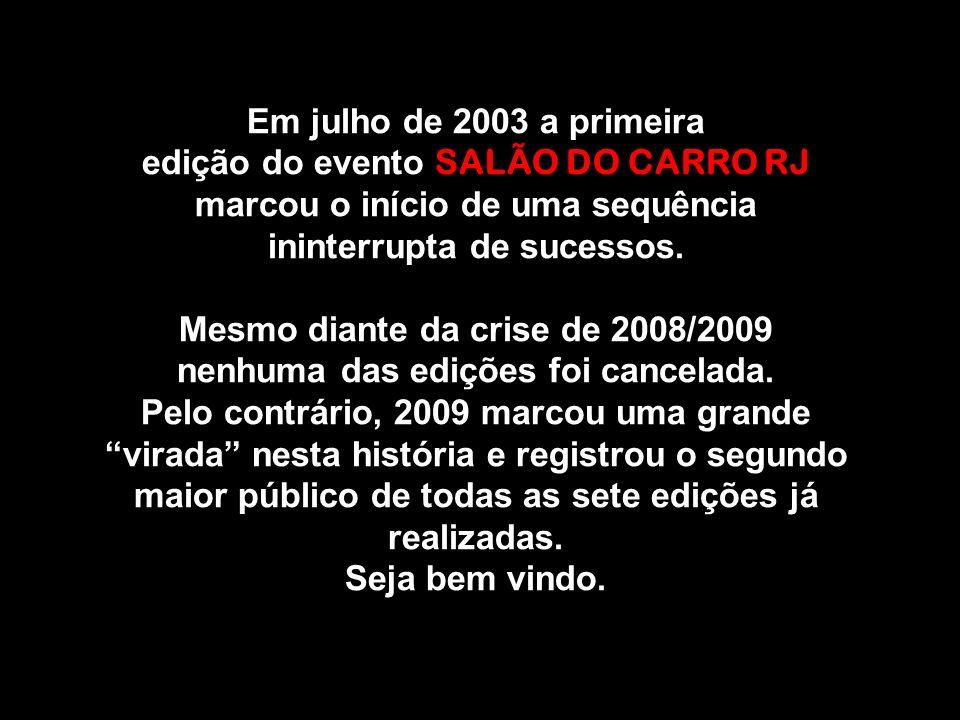 Em julho de 2003 a primeira edição do evento SALÃO DO CARRO RJ marcou o início de uma sequência ininterrupta de sucessos.