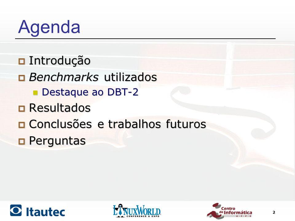 Agenda Introdução Benchmarks utilizados Resultados