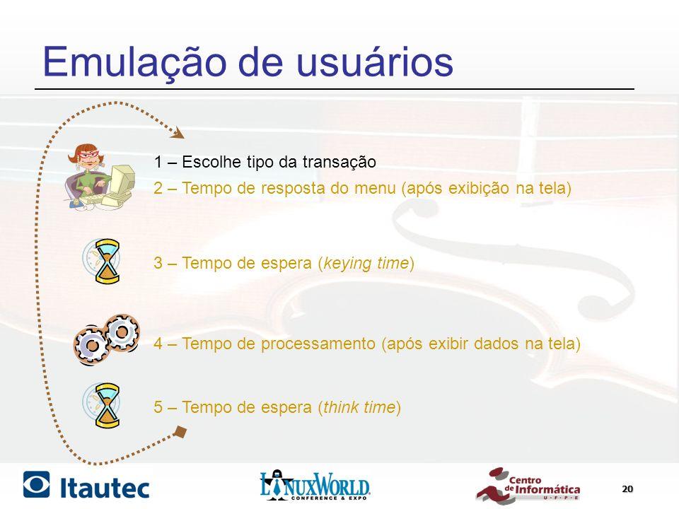 Emulação de usuários 1 – Escolhe tipo da transação