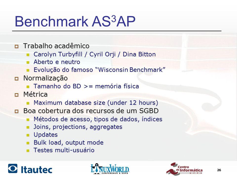 Benchmark AS3AP Trabalho acadêmico Normalização Métrica