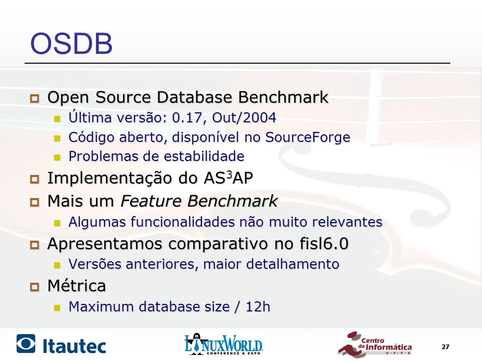 OSDB Open Source Database Benchmark Implementação do AS3AP