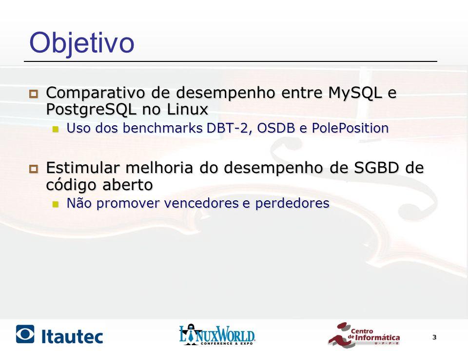 Objetivo Comparativo de desempenho entre MySQL e PostgreSQL no Linux